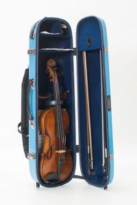 violin glass fibre case turquoise opened