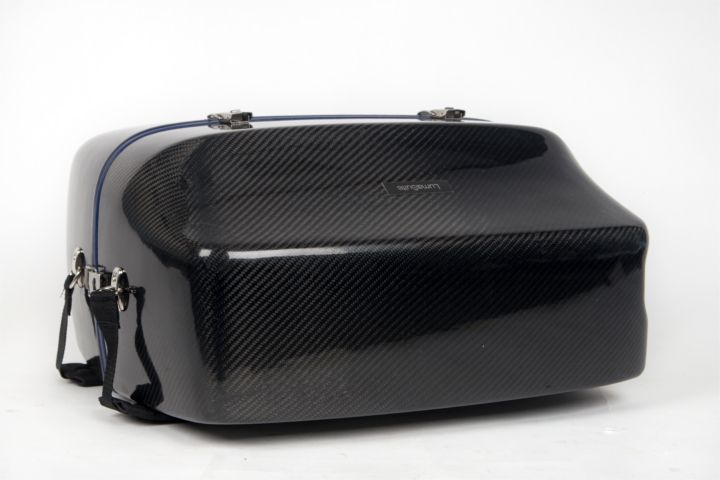 LumaSuite carbon twill standard accordion case on the floor
