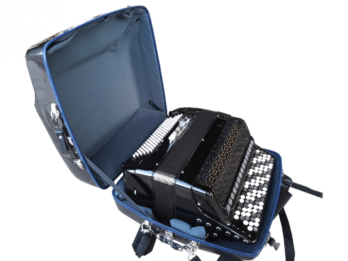 LumaSuite New Edition Twill carbon fiber accordion case with Jupiter accordion inside.