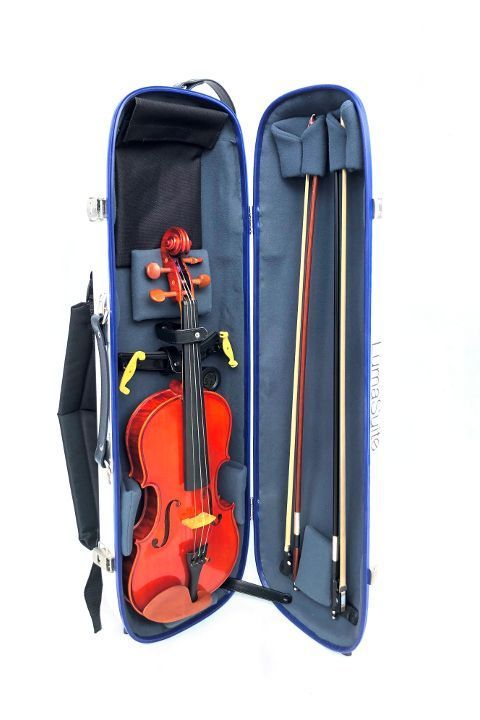 LumaSuite white violin case opened with instrument inside