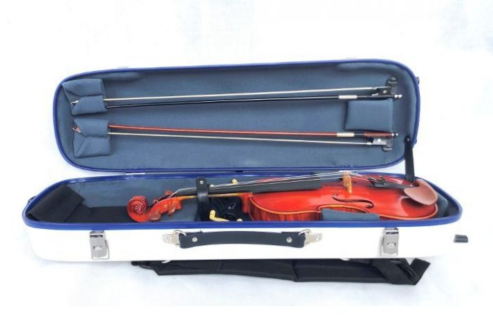 LumaSuite white violin case opened with instrument and bows inside